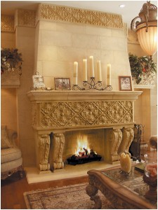 Italian Design limestone Fireplace Mantels