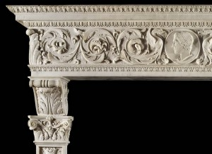 hand carved marble and limestone fireplace
