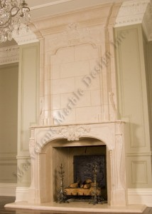 natural limestone fireplace mantel